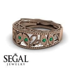 Unique Engagement Ring 14K Red Gold Vintage Art Deco Edwardian Ring Filigree Ring Green Emerald With Ruby - Gianna #engagementrings #engagement #rings #floral #flower #wedding #diamond