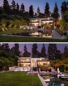 This home has a large grassy backyard with a swimming pool and outdoor entertaining area. At night the garden, swimming pool and house are all lit up. Swimming Pool Photos, Swimming Pools, Dream Mansion, Dream Homes, Indoor Outdoor, Shipping Container House Plans, Modern Kitchen Island, Interior Design Boards, Luxury Kitchen Design
