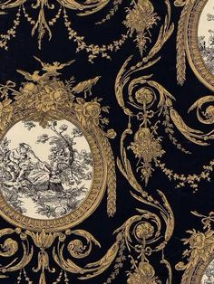 formal wall covering in French style. black and antique gold with white accents