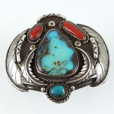 1970s Bisbee Turquoise and Coral Cuff by Wilson Jim – Garland's Indian Jewelry