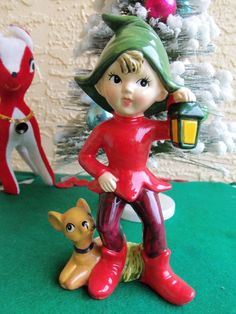 VINTAGE 1960'S CHRISTMAS CERAMIC ELF/PIXIE HOLDING LANTERN & FAWN DEER AT HIS FEET