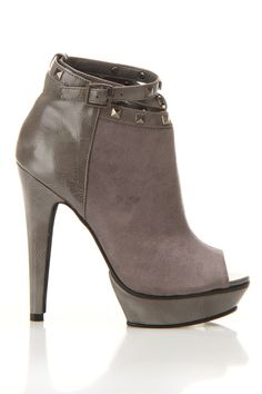 Grey Stud Detail Ankle Boots