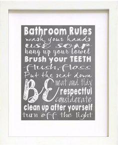 Bathroom Rules Wall Art yellow & white chalkboard style bathroom rules sign chalk wall art