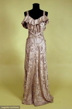 Brocade & Lame Evening Gown, 1930s, Augusta Auctions, October 2007 Vintage Clothing & Textile Auction, Lot 723
