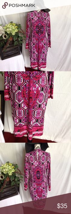 Venus Indian Print XL High Neck Midi Dress XL. Venus. Berry and black and purple. Indian print. Midi length. Has stretch. Long sleeves. Top button is missing (easy fix) see pic. Free gift Venus Dresses Midi