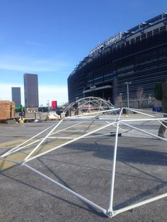 Building domes for the Super Bowl! Exciting though very cold. Geodesic Dome, Sustainable Development, Event Venues, Super Bowl, Sustainability, Louvre, Construction, Cold, Building