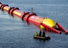 Pelamis sea-snake floating generators in Scotland's wave energy test.
