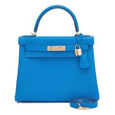 #Hermes Retourne #Kelly #Bag Blue Zanzibar Togo Gold Hardware
