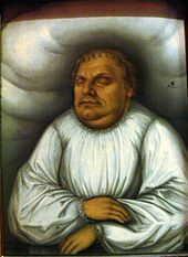 Luther on his deathbed by Lucas Cranach the Elder