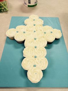 Cross cupcake cake for baby boy baptism  (see note for recipes and details)