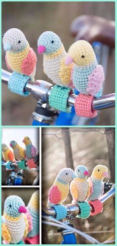 Crochet Bike Handlebar Birdies Pattern - Crochet Bicycle Fashion Patterns - cute budgies!