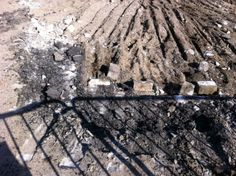 Old streetcar ties and pavers are dug up during LRT construction. 5.23.2011