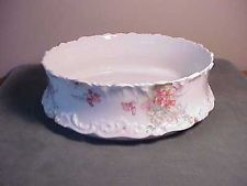 "Vintage Porcelana Limoges Francesa 10 ""abra a tigela de servir-Rosa E Branco Floral"
