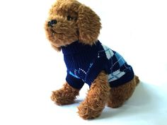Blue Argyle Dog Sweater * Check this awesome product by going to the link at the image. (This is an affiliate link and I receive a commission for the sales) Knit Dog Sweater, Dog Sweaters, Boy Dog, Girl And Dog, Girl Dog Costumes, Dog Jacket, Dog Wear, Leather Dog Collars, Dog Coats