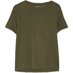 Majestic Modal and cashmere-blend T-shirt ($72) ❤ liked on Polyvore featuring tops, green, army green shirt, majestic shirts, brown shirt, army green top and shirts & tops