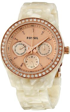 Capri Jewelers Arizona ~ www.caprijewelersaz.com  Fossil Women's ES2887 Stella Rose Gold Dial Watch
