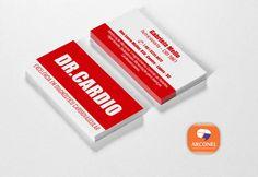 Cartões de Visita Dr. Cardio, para a nutricionista Gabriela Mello - Impresso em papel couché e verniz integral. #cartãodevisita #arconel #nutricionista