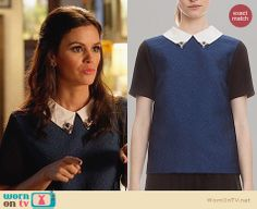 Zoe's blue top with white embellished collar on Hart of Dixie. Outfit Details: http://wornontv.net/27250 #HartofDixie #fashion