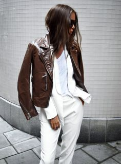 winter white + brown leather
