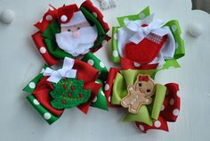 Medium Christmas Boutique Felt Embroidered Bows