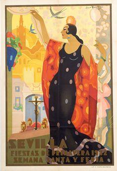 Premium Thick-Wrap Canvas Wall Art Print entitled Sevilla, Fiestas Primavera, Vintage Poster, by Juan Balcera de Fuentes, None Framed Art Prints, Poster Prints, Spanish Art, Spanish Eyes, Spanish Dancer, Spanish Music, Retro Poster, Poster Vintage, Flamenco Dancers