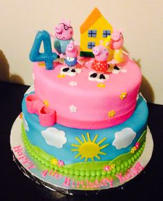 Peppa pig cake Girl Birthday Themes, 3rd Birthday Parties, 4th Birthday, Birthday Ideas, Tortas Peppa Pig, Peppa Pig Cakes, Peppa Pig Birthday Cake, Pig Party, Cake Designs