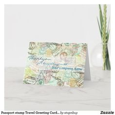 Passport stamp Travel Greeting Card-Thank you Thank You Card | Zazzle.com