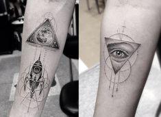 42 super Ideas for eye tattoo geometric symbols Geometric Tattoo Meaning, Geometric Symbols, Geometric Tattoo Design, Geometric 3d, Geometric Sleeve, Tattoo Designs For Women, Tattoos For Women, Tattoos For Guys, Neue Tattoos