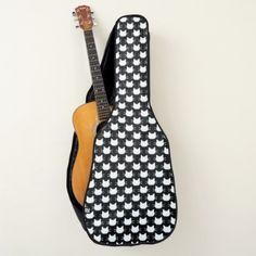 White Cat Head Silhouette Design Guitar Bag - patterns pattern special unique design gift idea diy
