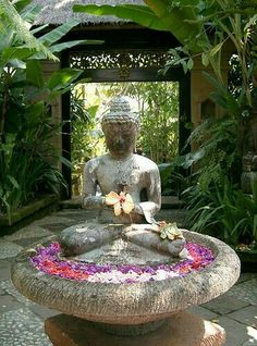 """It is in the nature of things that joy arises in a person free from remorse."" ~ The Buddha * Satyagraha ""It is in the nature of things that joy arises in a person free from remorse."" ~ The Buddha * Satyagraha Bali Garden, Balinese Garden, Tropical Garden, Water Garden, Garden Art, Garden Pool, Meditation Garden, Meditation Space, Meditation Corner"