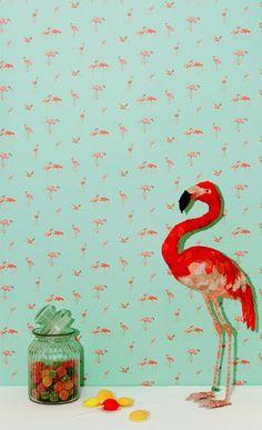 Wallpaper - Pink Flamingos on aqua - Mylittleventure