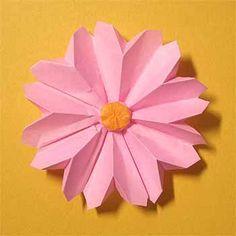 折り紙でコスモスの折り方!1枚で簡単立体的な作り方   セツの折り紙処