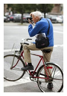 Bill Cunningham, NY Times photographer. I don't know much about the man himself, but I love the curiosity and joie de vivre conveyed in this photo - biking at any age, stopping to take in the beauty, seeking loveliness and finding it everywhere life takes you...