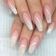 French Fade With Nude And White Ombre Acrylic Nails Coffin Nails - Styles Art Fall Nail Art Designs, Ombre Nail Designs, Acrylic Nail Designs, White Tip Nail Designs, Acrylic Nail Set, Best Acrylic Nails, Gold Nails, Glitter Nails, Gold Glitter