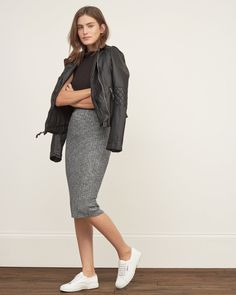 Womens Knit Midi Skirt | Challenge the midi-length allure with an easy pull-on silhouette, featuring all-over ribbed texture | Abercrombie.com