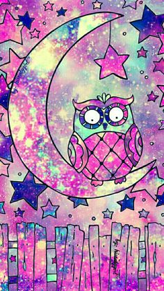 Cute owl drawing galaxy wallpaper I made for the app CocoPPa.