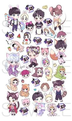 EXO is just a bunch of smol little beans :) Chibi Exo, Naruto Chibi, Chibi Manga, V Chibi, Cute Chibi, Exo Stickers, Cute Stickers, Kpop Exo, Chibi Tutorial