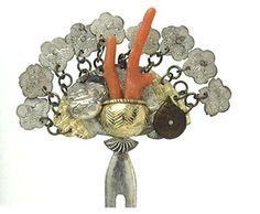 Silver-plated coral treasure hairpin Edo-Meiji 19th C.