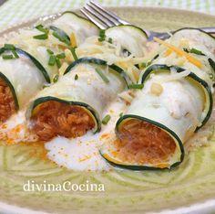 Estos canelones de calabacín resultan un plato de verdura sabroso y original, más ligera y fresco que los tradicionales canelones de pasta.