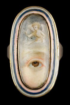 Oval gold Lover's Eye ring with white, blue and pink enamel, 1795.