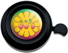 Cool and Custom {Fully Adjustable to Fit Most Bikes} Bicycle Handlebar Bell Made of Hard Metal w/ Spring Blossom Hippie 60's Daisy Flower Outline Design {Black, Yellow, Red & Green Colors}