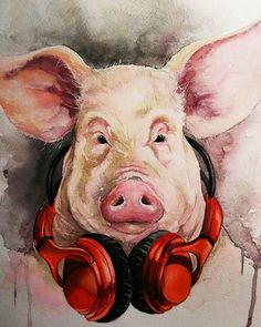 Pig Images, Cute Piglets, Pig Art, Old Christmas, Animals And Pets, Folk Art, Puppies, Photo And Video, Drawings