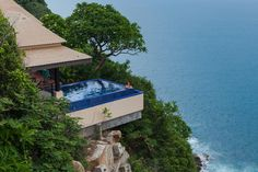 Infiniti pool overlooking the ocean  at the Banyan Tree Cabo Marques in Acapulco, Mexico