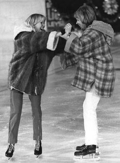 April 1979: Abba singers husband and wife Bjorn Ulvaeus and Agnetha Faltskog skating at Leysin Sports Centre ice-rink, during the filming of Abba's first television special 'Abba In Switzerland'. - Pinned 1-25-2016.