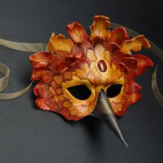 Autumn Forest Raven - Leather Mask.