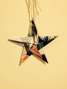 Origami star made with recycled magazines