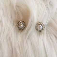 PEARL AND DIAMOND STUDS No backs or box **remember to bundle and save 10%** no holds/trades Jewelry Earrings