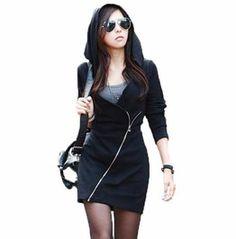 Women's Hooded Quarter Sleeve Zip Dress