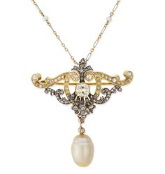 Early 19th Century Pearl Diamond Gold Pin and Chain | From a unique collection of vintage drop necklaces at https://www.1stdibs.com/jewelry/necklaces/drop-necklaces/