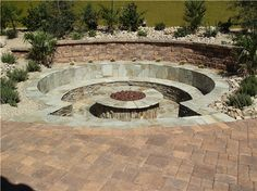 Sink ItRound Stone Sunken Benches Gas Fire Pit Newtex Landscape Inc. Henderson NV - Fire Pit - Ideas of Fire Pit Sunken Patio, Sunken Fire Pits, Wood Fire Pit, Rustic Fire Pits, Concrete Fire Pits, Fire Pit Area, Fire Pit Backyard, Sunken Garden, Stone Fire Pits